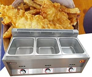 Food Warmer, 3 Pan Gas Steam Table Food Warmer Equipment Steamer for Catering and Restaurants Commercial Stainless Steel US STOCK
