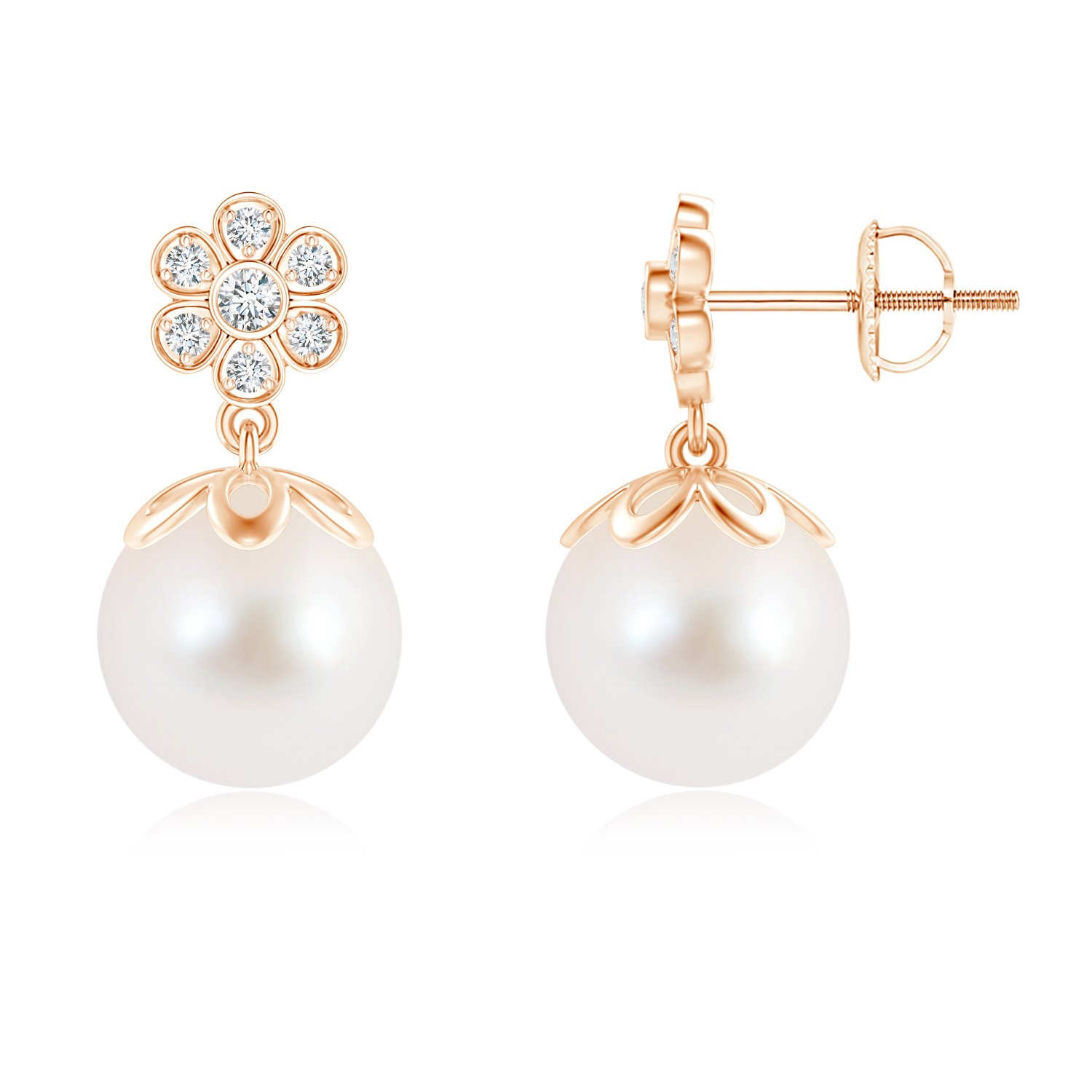 Angara Freshwater Cultured Pearl and Diamond Floral Drop Earrings zyWYPqzRc