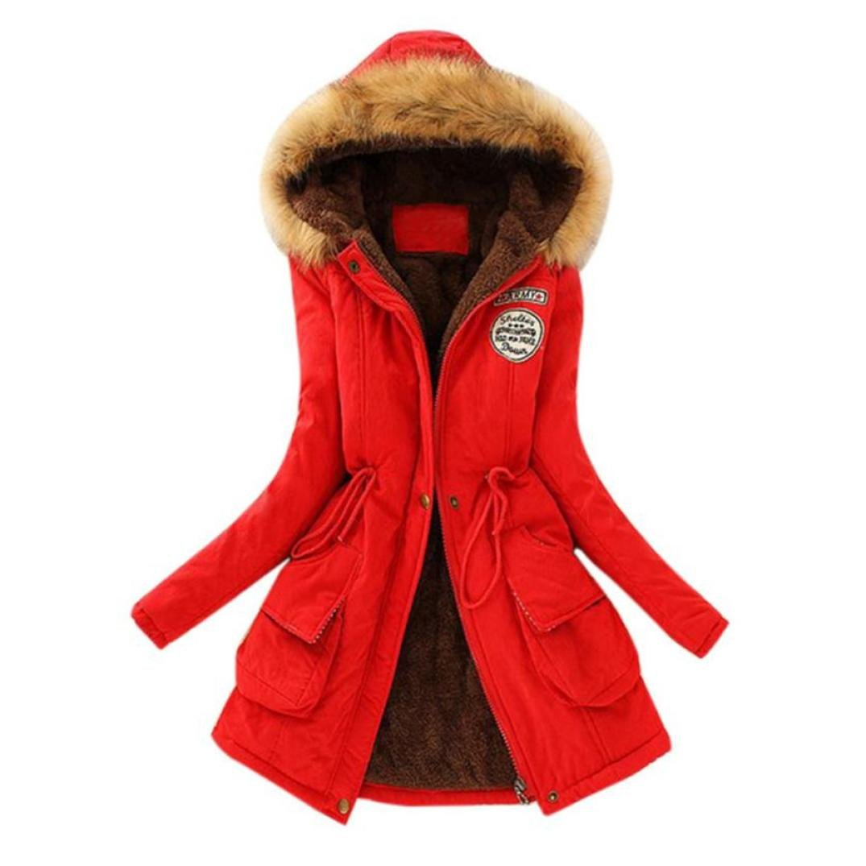Qingfan Super Warm Long Coat Fur Collar Hooded Jacket Slim Winter Parka Outwear Down Coat (XXL, Red)