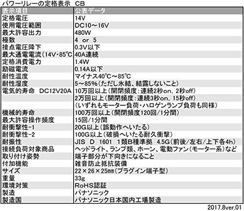 Panasonic パナソニック/12V40A 480W対応・CB型/4極 日本製・車載パワーリレー 2年間保証