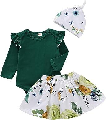 Newborn Baby Girls Ruffle Romper Flowers Skirt Dress Cap Outfits Clothes Set