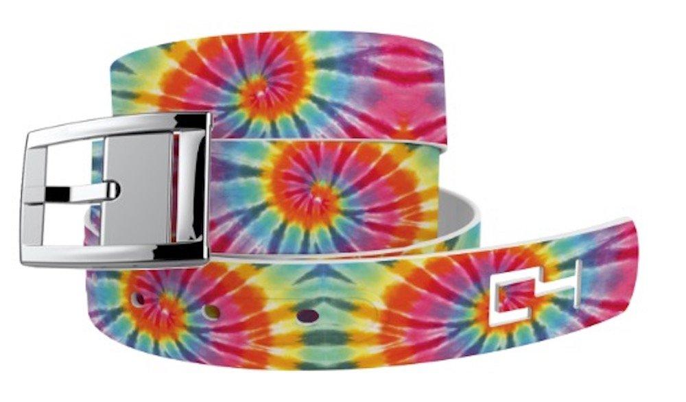 C4 Belts Swirl Tie Dye Classic Belt with Silver Buckle - Fashion Belt - Waist Belt for Men and Women