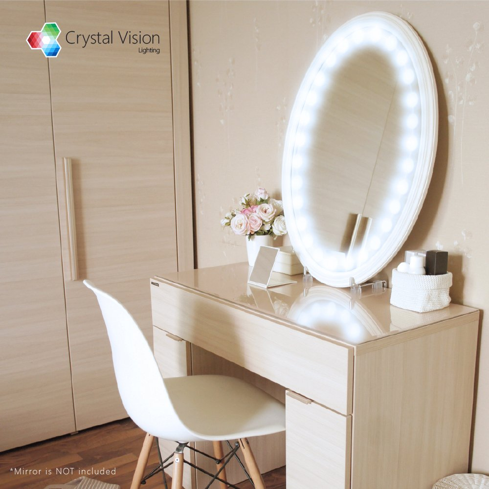 My only thing would be that i probably would have made the mirror - Amazon Com Crystal Vision Hollywood Style Makeup Mirror Led Light Kit Provided By Samsung For Cosmetic Mirror Vanity Mirror W Dimmer Controller 100 Led