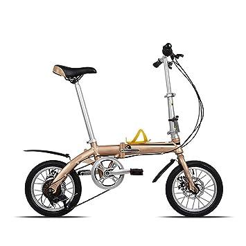 WHKJZ Unisex Marco Aleación Aluminio Bicicleta Plegable 14 ...