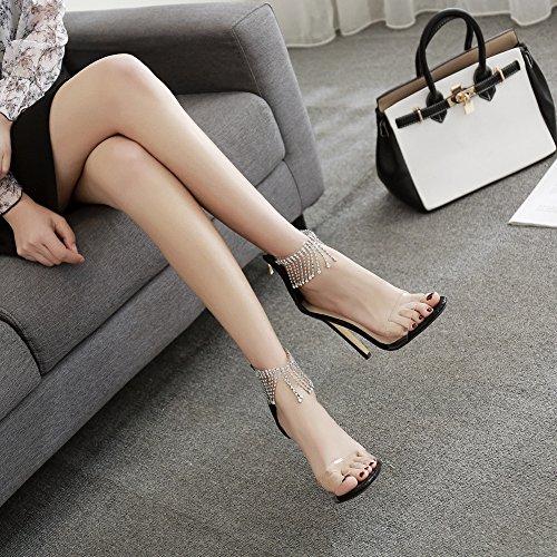 Strass Soirée Dames De Ouvert Glands Noir Chaussures Cheville Talons Hauts Sandales Stiletto Zyqme Mariage Bout Femme qXPTwO
