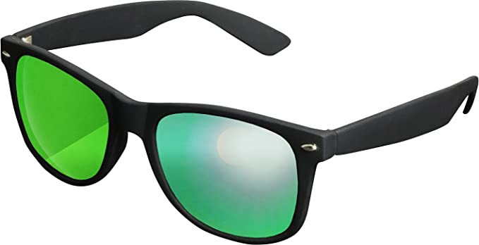 MSTRDS Sonnenbrille, mit verspiegelten Gläsern, schwarz, schwarz