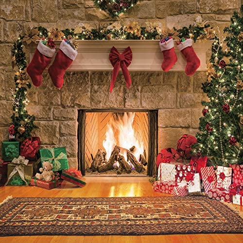 8x6.5ft Vinyl Merry Christmas Theme Photo Backdrop Christmas Tree Branches Frame Beautiful Decorations on Planks Photo Background Christmas Party Children Adults Portraits Photo Studio