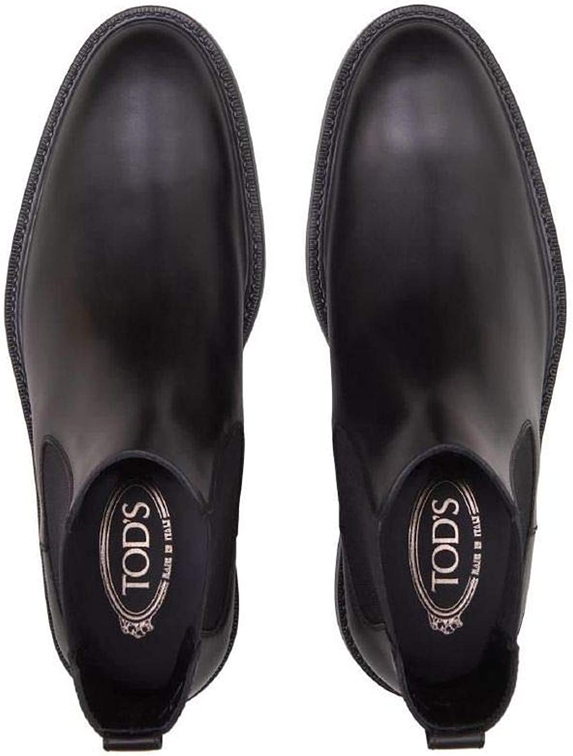 Tod's - Ankle Boots in Black Leather with Side Elastic Inserts - XXM45A00P20D90B999 Schwarz
