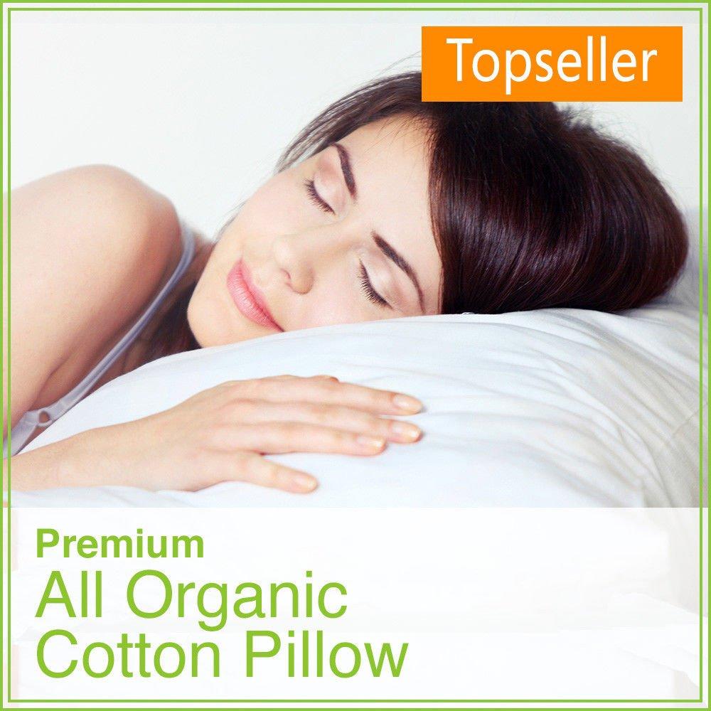 100% All Organic Cotton Fiber Filled Standard Size Pillow - 2-PACK