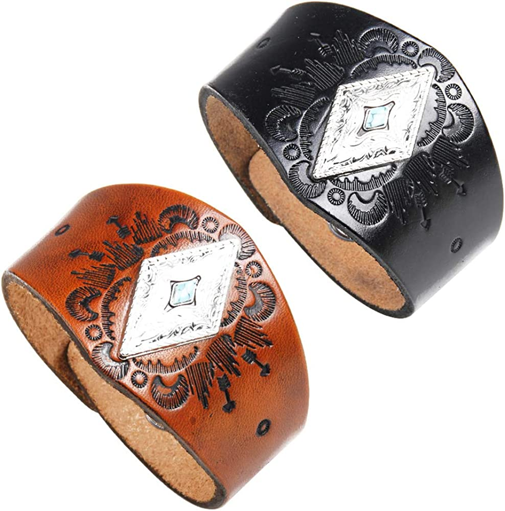 crintiff - Leather Cuff Wristband Bracelet for Men and Women with Triangle Turquoise