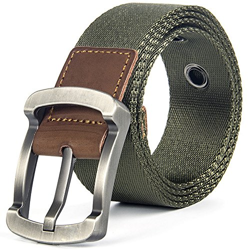 Hoanan Nylon Reversible Belt, Mens Adjustable Military Web Belt Solid Pin Buckle, olive