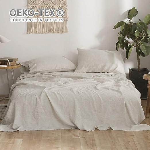 Linen Sheet Set Fitted Sheet 4 Pcs Set 2 Pillowcases Flat Sheet