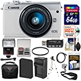 Canon EOS M100 Wi-Fi Digital ILC Camera & EF-M 15-45mm is STM Lens (White) with 64GB Card + Battery & Charger + Case + Strap + Filter + Tripod + Flash + Kit