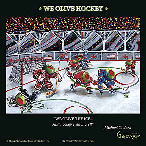 - We Olive Hockey Michael Godard Humor Funny Sport Cocktail Fantasy Print Poster 12x12