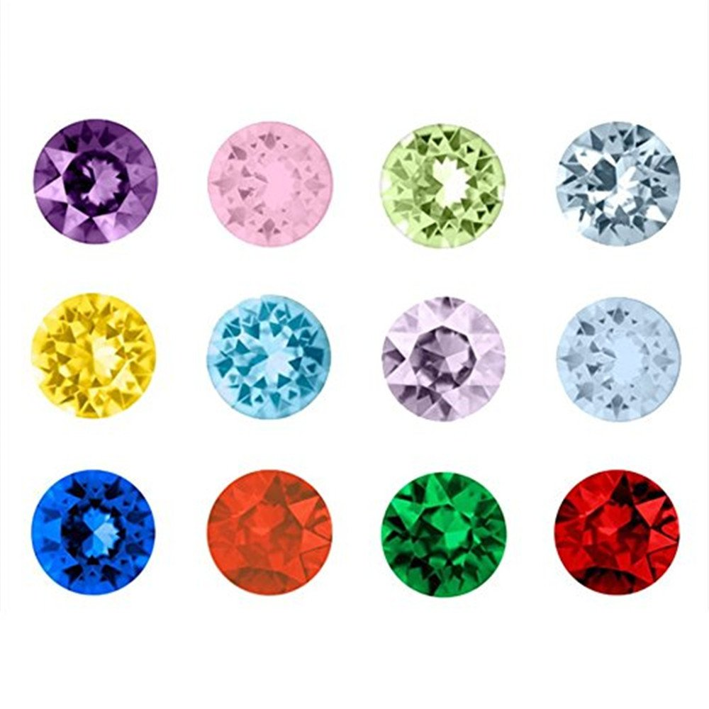 120pcs Assorted Birthstone Artifical Crystal Floating Charm Memory Lockets Mix 12 Colors(Round shape) Qiqilei