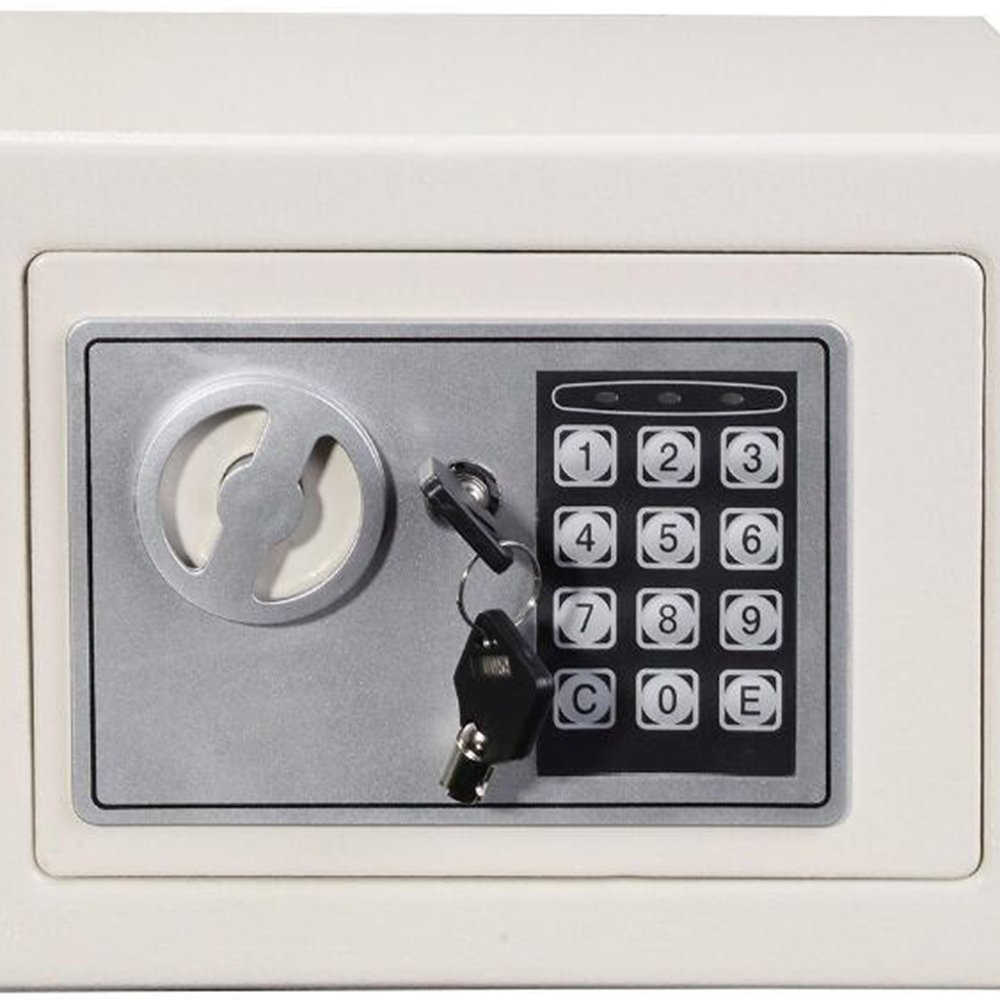 Small Safe Box Digital Security Cabinet Safe Box Solid Steel Construction Hidden with Deadbolt Lock Wall-Anchoring Design (9.06 x 6.69 x 6.69) (ship from US)
