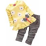 Koly® 2pcs Ragazze dei capretti a maniche lunghe Bow Flower pantaloni Plaid Shirt Set