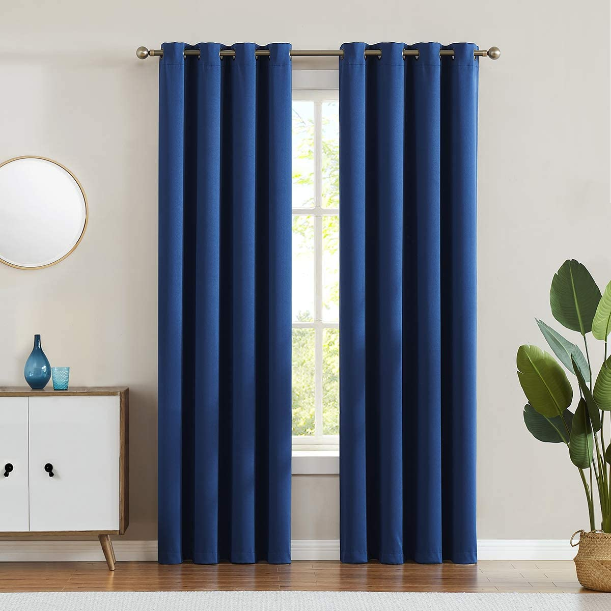 LALA WONZ 98 Blackout Curtains Room Darkening Thermal Insulated Living Room Curtains, 52 x 96 Inch, Navy, 2 Grommet Curtain Panels