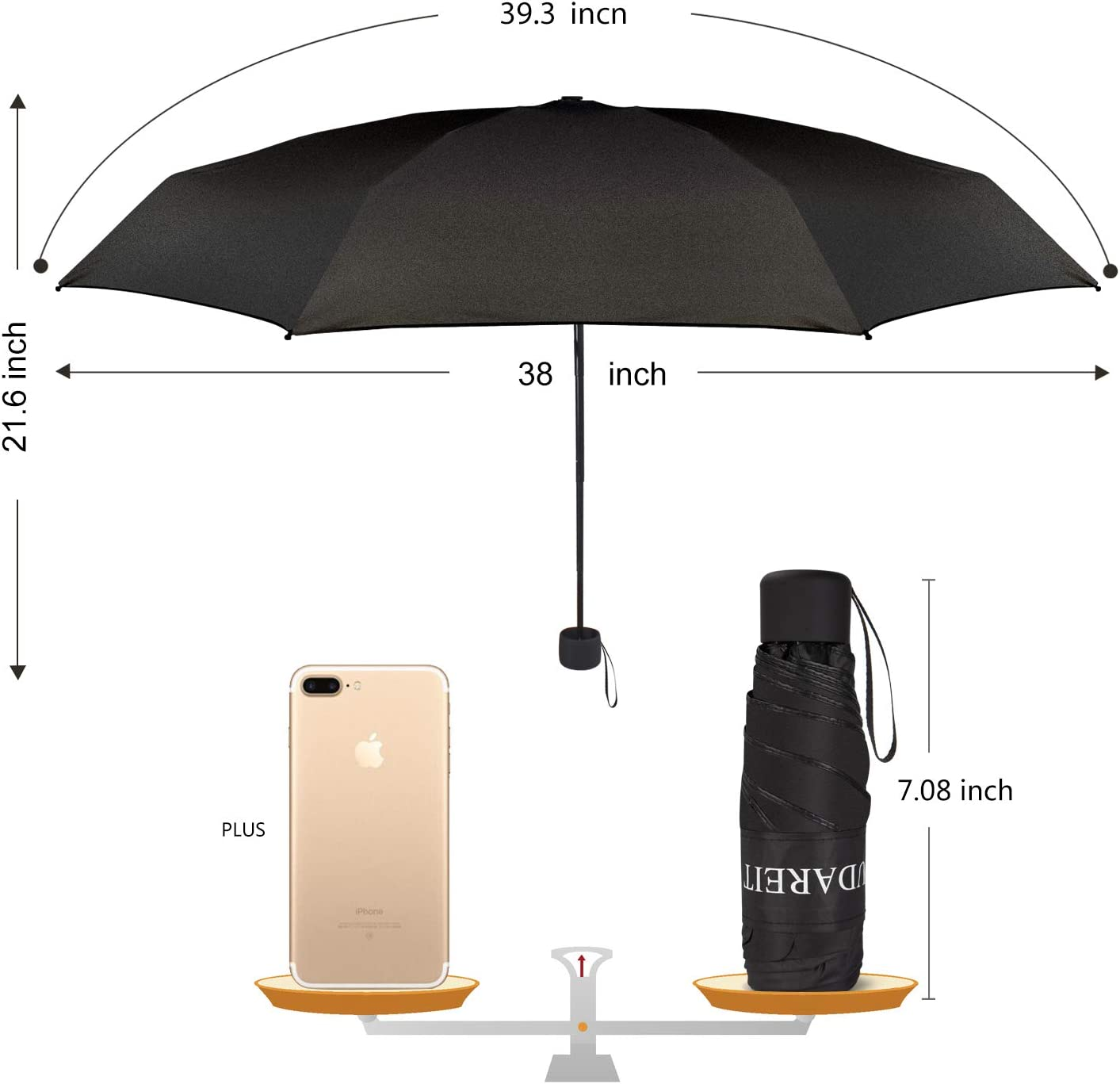 Small Umbrella for Travel Mini Compact Umbrellas Lightweight for Sun UV Protection Yellow