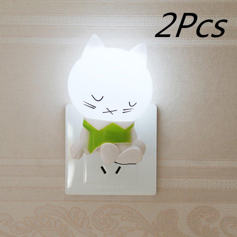 ShineMe ®かわいい睡眠猫LED夜ランプ0.2 Wライトセンサー誘導LEDライト創造性ホーム家庭用ナイトライト赤ちゃん幼児のための寝室リビングroom-white &グリーン D1603150608BE-3 B01D9S4FAU 15400 2個 2個