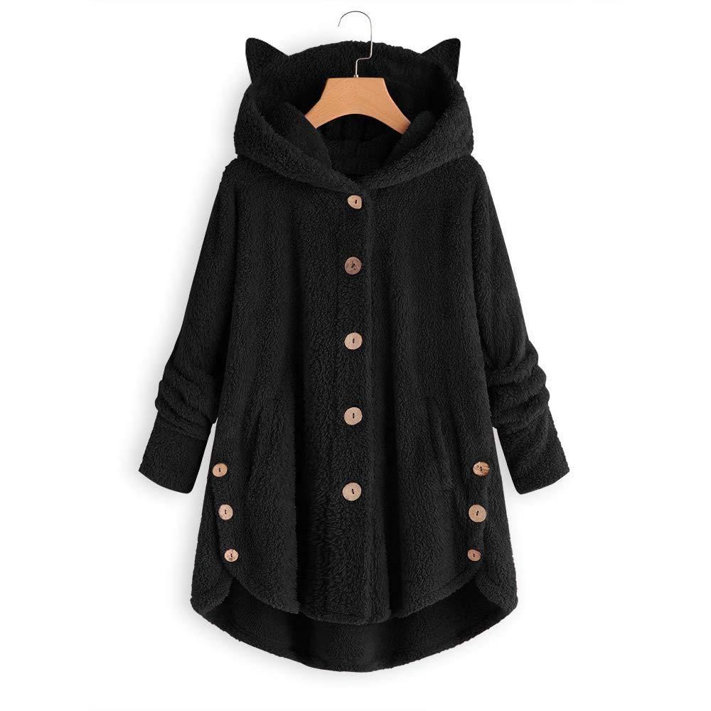 Winter Warm Coat Plush Jacket Hoodie Hooded Ladies Women Fluffy Button Outwear