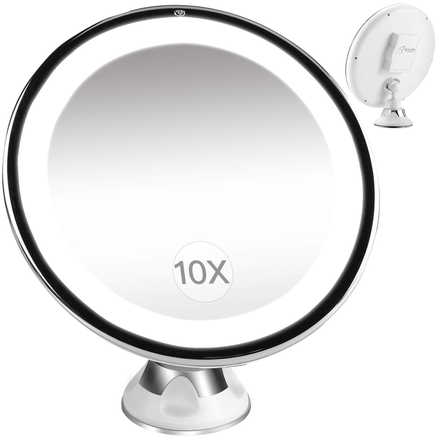 10x Magnifying Makeup Mirror.Bestope Lighted Makeup Mirror 10x Magnifying Vanity Mirror With 16 Led Lights Locking Suction Portable Bathroom Mirror 360 Rotation And Dimmable Light