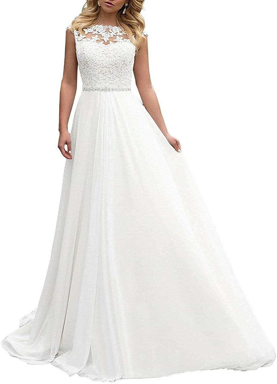 Brautkleid Lang Hochzeitskleider Damen Brautmode Spitze Chiffon A Linie  Rückenfrei