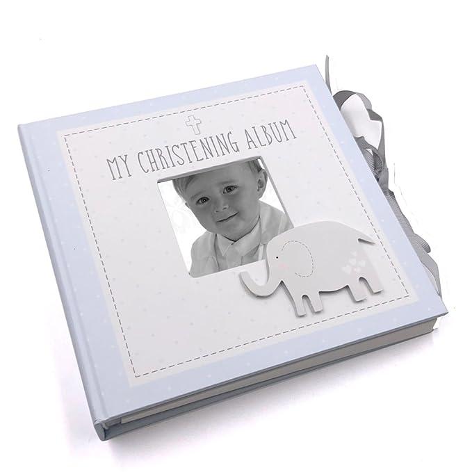 "Suede Christening Album With Silver Teddy Icon Photo Album 4x6/"" keepsake gift"