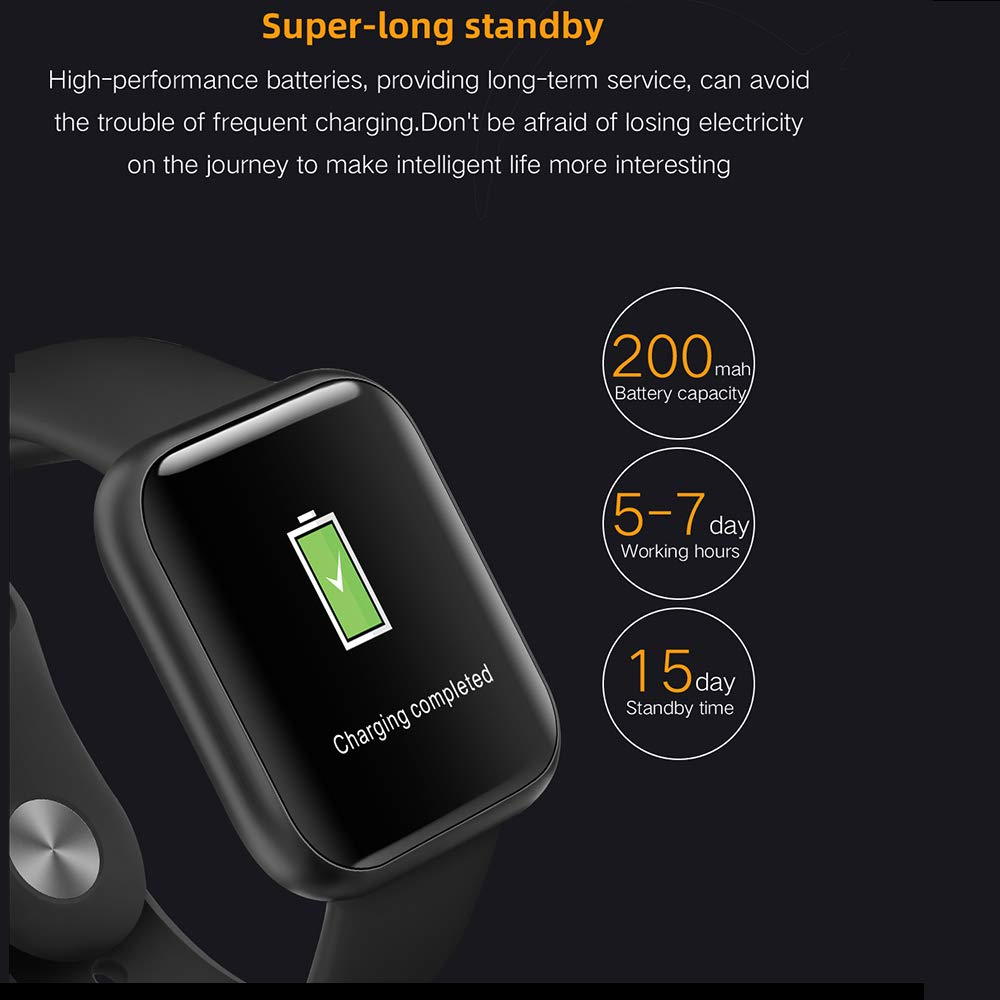 Byoung Activity Tracker for Girls, Fitness Watch IP68 Waterproof Smart Pedometer Watch with All Day Heart Rate Monitor/Blood Pressure, 2019 Upgrade Full Touch Screen Smart Wristwatch Bracelet, Black by Byoung (Image #3)