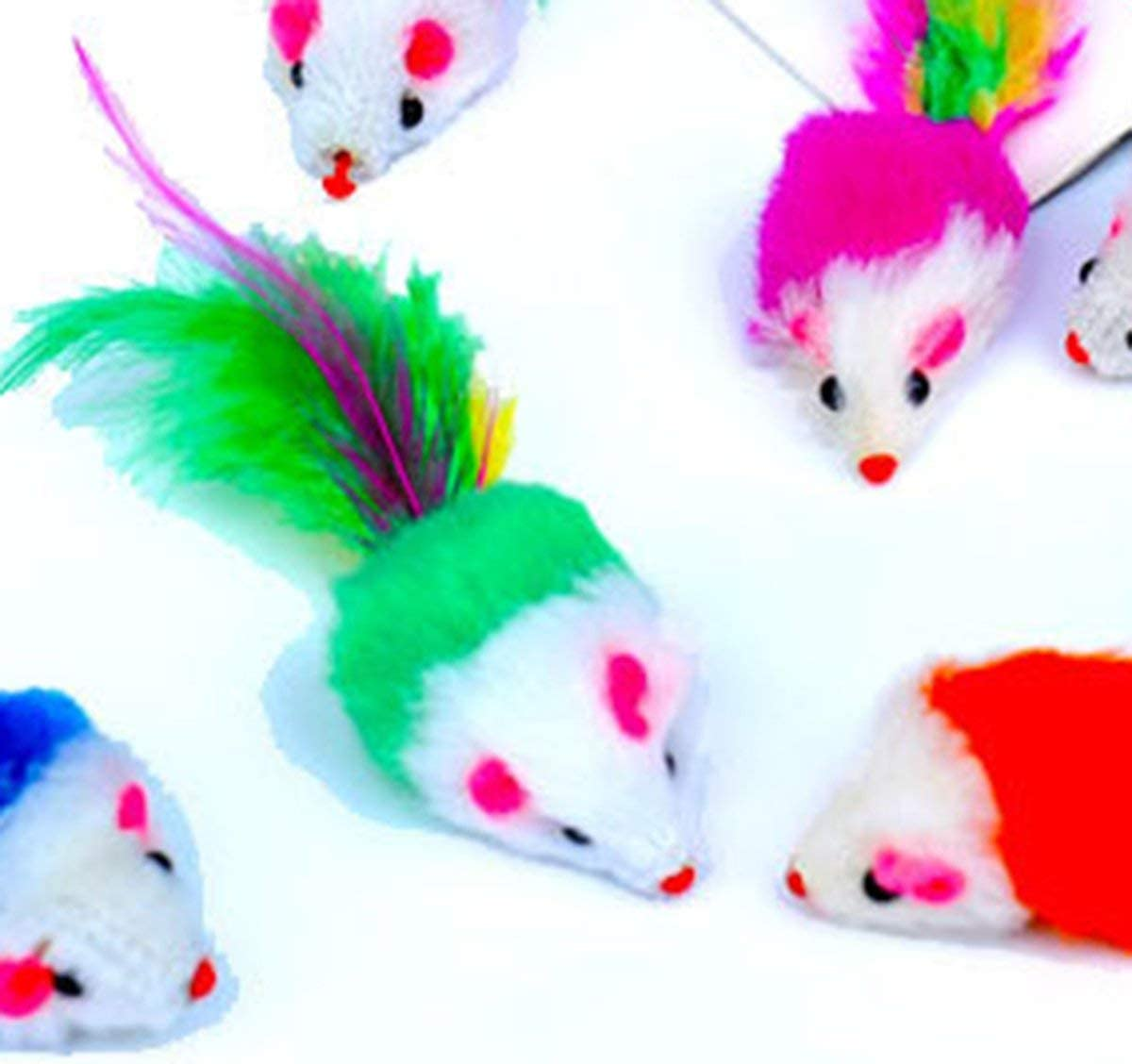 Gugutogo Pet Cat Toy Cat Toy Plush Mouse Colored Feather Tail Small Mouse Cat Mouse Toy Fake Mouse Interaction Plush Animal Toy Cat Toy