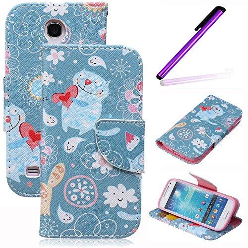 Galaxy S4 Mini Case,Galaxy S4 Mini Flip Case,LEECO Card Slots Wallet PU Leather Folio Kickstand Protective Case Cover for Samsung Galaxy S4 Mini Cats Love