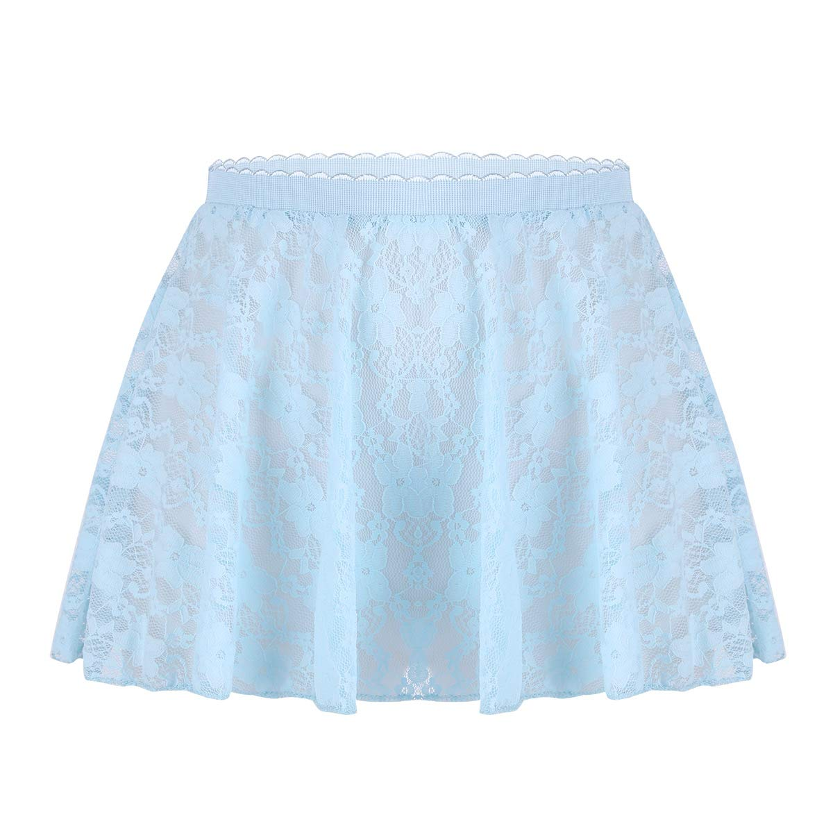 dPois Kids Girls' Basic Dance Wrap Skirt Chiffon Active Dress Classic Dancewear Sky Blue (Lace) 4-5