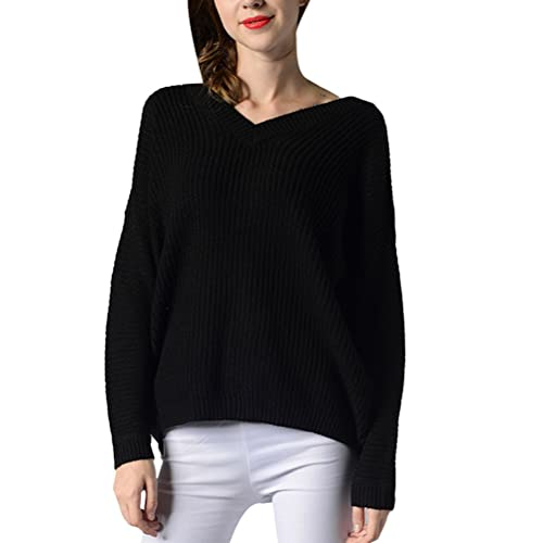 Zhhlaixing Suéter hermoso Fashion Womens V-neck Sweater Relaxed and Free Style Knitting Shirts