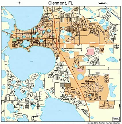 Map Of Clermont Florida Amazon.com: Large Street & Road Map of Clermont, Florida FL
