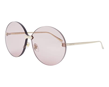 ba9b940b45c Image Unavailable. Image not available for. Color  GUCCI 0353 Metal Gold  Pink Oversized Round Rimless Sunglasses