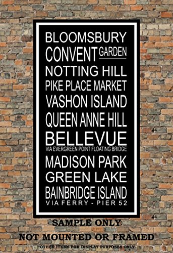 Seattle Subway Sign Print - Vashon, Bloomsburry, Queen Anne, Pike Place Market, Bellevue, Madison Park, Green Lake, Notting Hill - Multiple - Place Queens Market