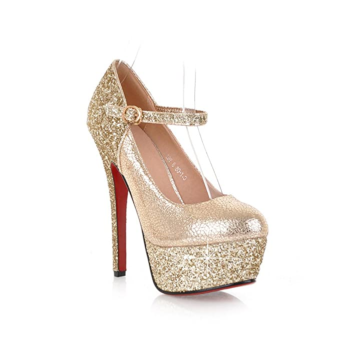 UH Frauen Leder-Rote Untere Absatz-Buckle 14CM Sequin-Plattform Diskothek Fashion Sexy Pumps Schuhe (38.5, Gold)