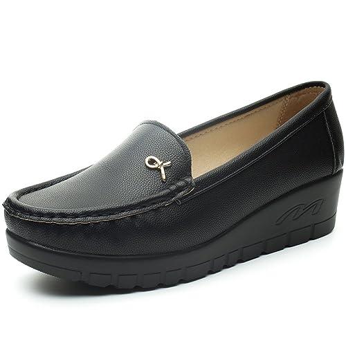 150325667412 Mocasines Plataforma Cuña Negros para Mujer – Cestfini Los Cómodos Casual  Zapatillas para Mujer, Zapatos del Barco, Cómodo y Antideslizante