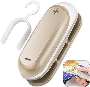 Premium Mini Bag Sealer, Handheld Heat Vacuum Sealers, Bag Sealer with Cutter, 2 in 1 Heat Sealer & Cutter Handheld Sealer for Plastic Bags, Food Storage Snack Fresh Bag (Battery Not Included) - Gray