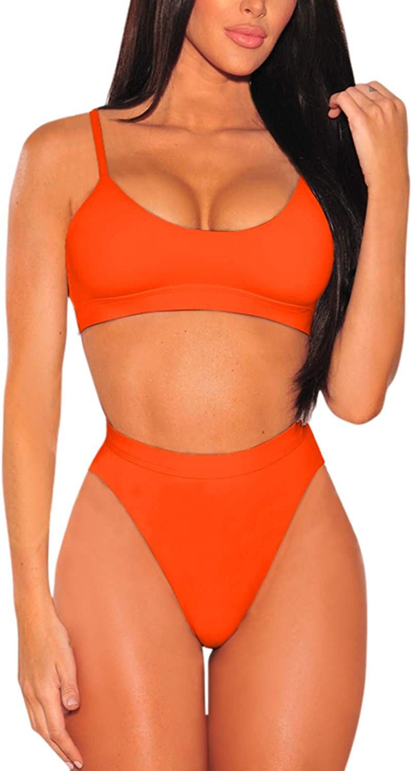 Pink Queen Women's Push Up Pad High Cut High Waisted Cheeky Two Piece Swimsuit: Clothing