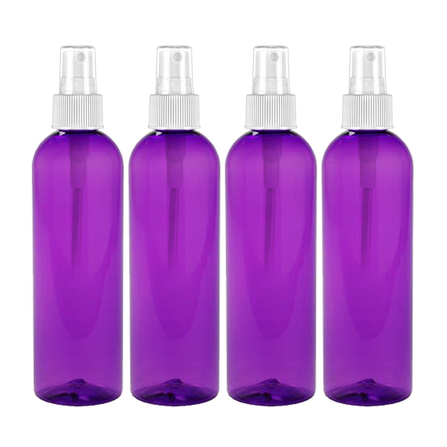 MoYo Natural Labs 4 oz Spray Bottles Fine Mist Empty Travel Containers, BPA Free PET Plastic for Essential Oils and Liquids/Cosmetics (Neck 20-410) (Pack of 4, Purple)