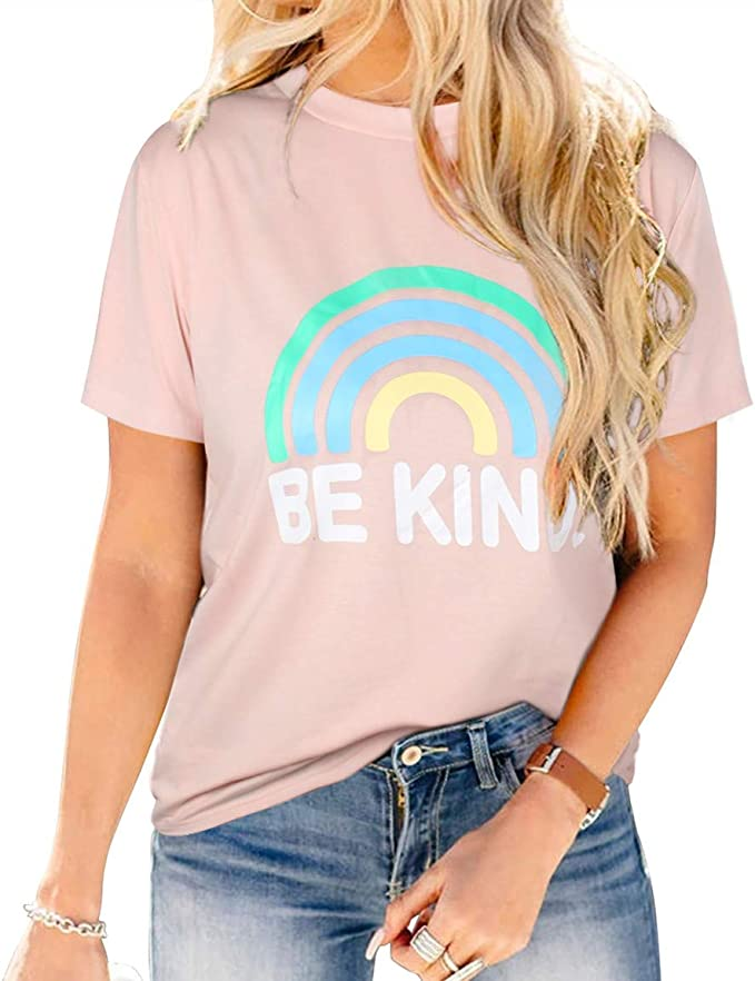 Blooming Jelly Womens Rainbow T Shirt Round Neck Short Sleeve Summer Tops Cute Graphic Tees