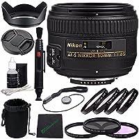 Nikon AF-S NIKKOR 50mm f/1.4G Lens + 58mm 3 Piece Filter Set (UV, CPL, FL) + 58mm +1 +2 +4 +10 Close-Up Macro Filter Set with Pouch + Lens Cap + Lens Hood + Lens Cleaning Pen Bundle