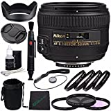 Nikon AF-S NIKKOR 50mm f/1.4G Lens + 58mm 3 Piece Filter Set (UV, CPL, FL) + 58mm +1 +2 +4 +10 Close-Up Macro Filter Set with Pouch + Lens Cap + Lens Hood + Lens Cleaning Pen Bundle