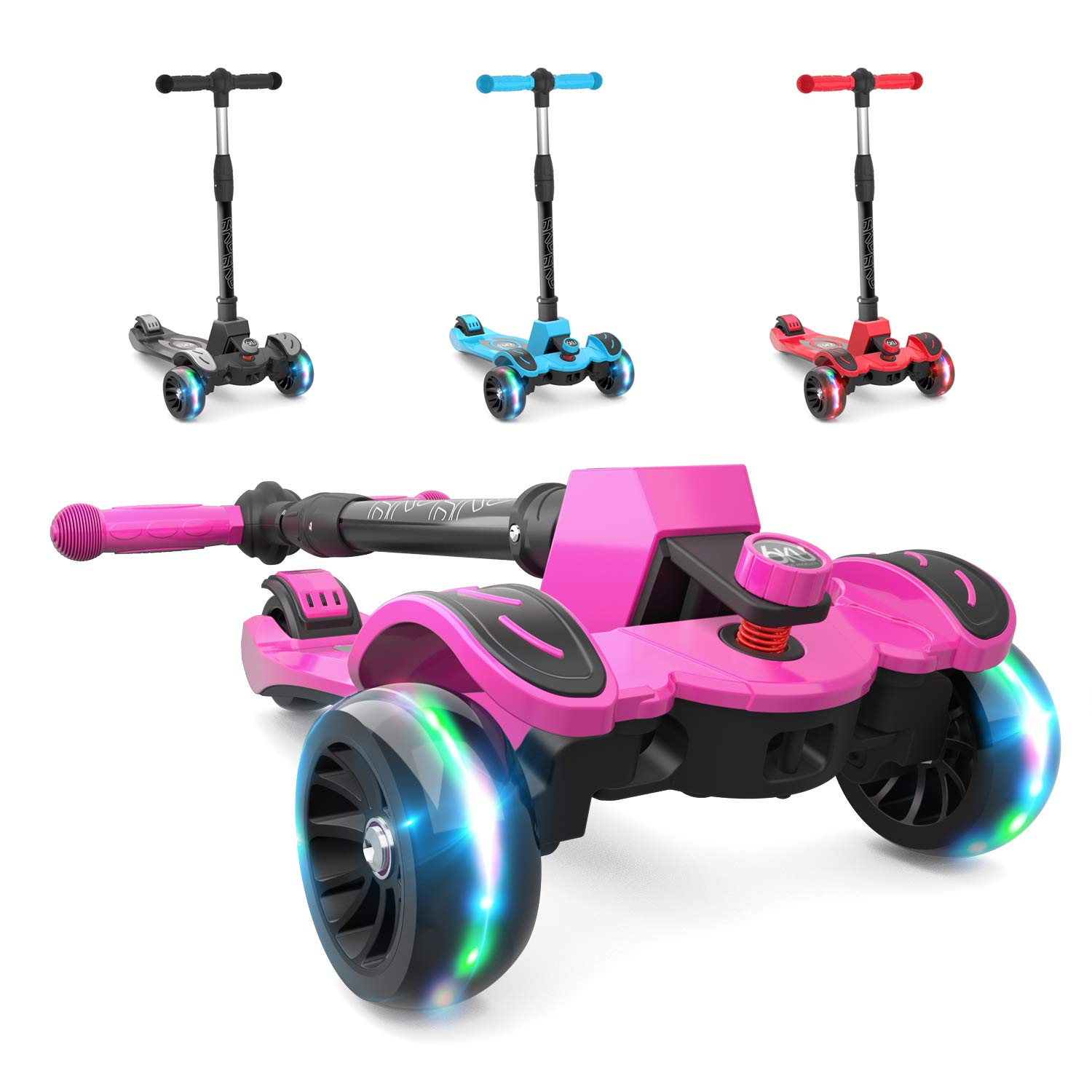 6KU Kids Kick Scooter with Adjustable Height, Lean to Steer, Flashing Wheels for Children 3-8 Years Old Pink by 6KU