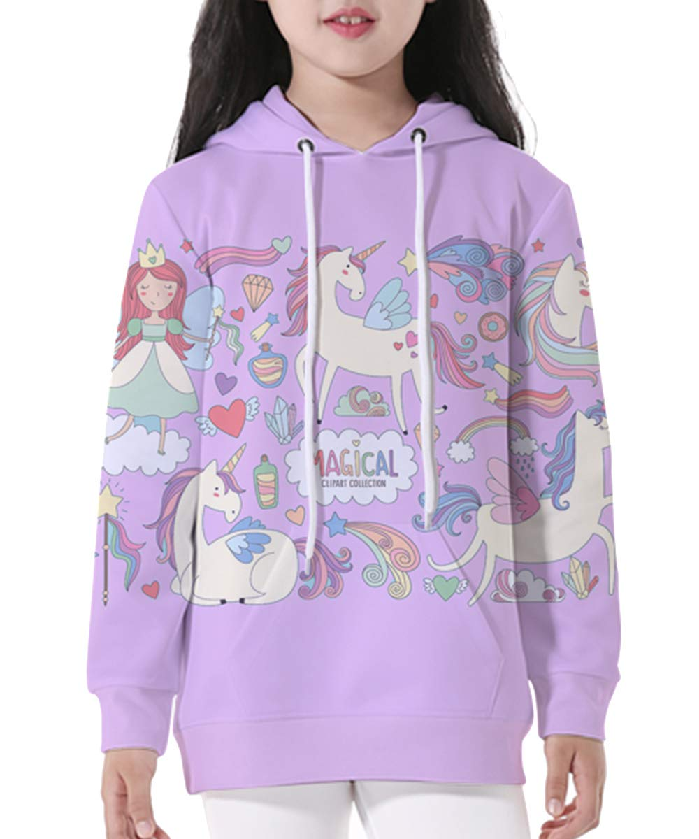 Gludear Teen Boys' Girls' 3D Galaxy Unicorn Print Sweatshirts Pocket Pullover Hoodies Fit 3-12Y
