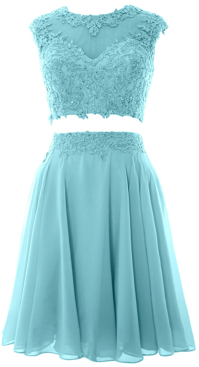 MACloth Women Vintage 2 Piece Prom Homecoming Dress Lace Wedding Party Gown (18w, Turquoise)