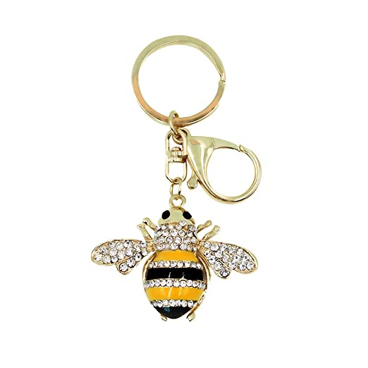 Bling Gold Bee Crystal Animal Car Keychain Bag Decoration Key Ring Pendant  Ornament Small Gift 355c0b8292