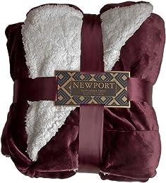 ReLIVE Newport Reversible 50-by-60-inch Velvet Berber Throw Blanket, Plum Frost