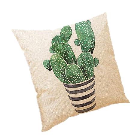 Wicemoon. Simple Decorativo Funda de Cojín Cactus Algodón ...